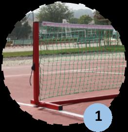 Zoom sur poteau de mini tennis mobile